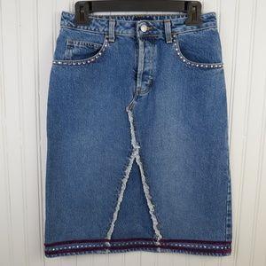 Gap Denim Jean Skirt Embellished Button Fly